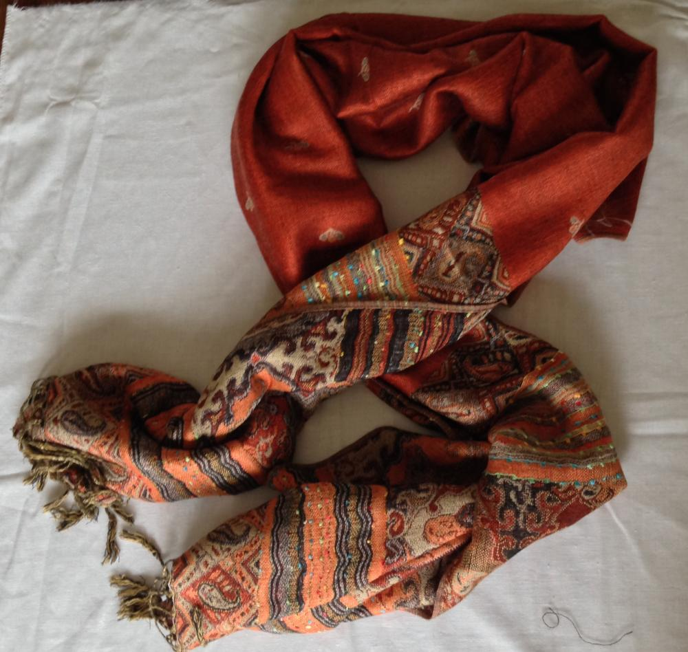 Double Sided Orange Patterned Scarf